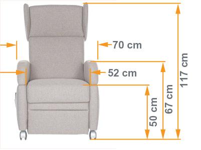 die Maße vom VIANDO+ Pflegesessel: Kompakt / elegant und dank der Bauform hohe Mobilität