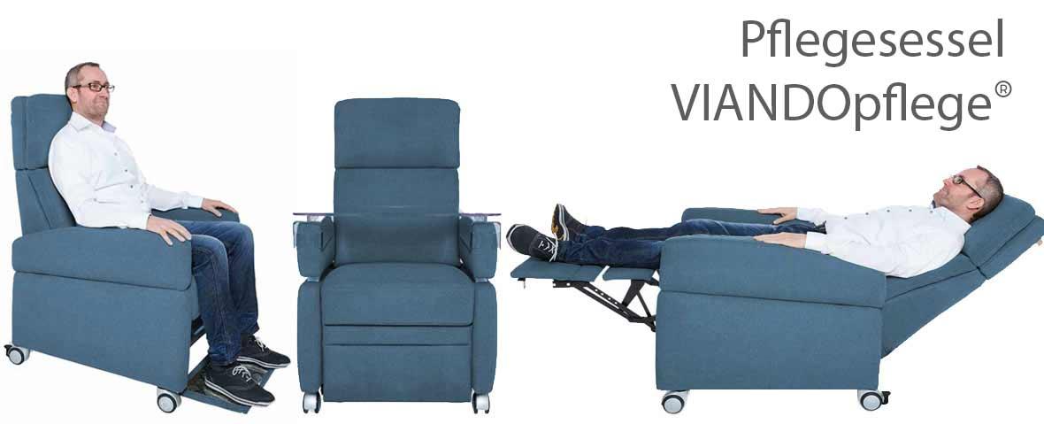 Der Pflegesessel VIANDO+ in 3 Darstellungen: Sitzen, Liegen, mit Tisch. Der Pflegesessel für den privaten und klinischen Einsatz