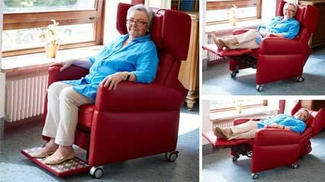 pflegesessel mit aufstehhilfe in leder weinrot der viando kann auch in unterschiedlichen. Black Bedroom Furniture Sets. Home Design Ideas