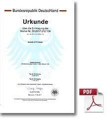 Urkunde für den Eintrag der Marke für kranich ATP-Kissen
