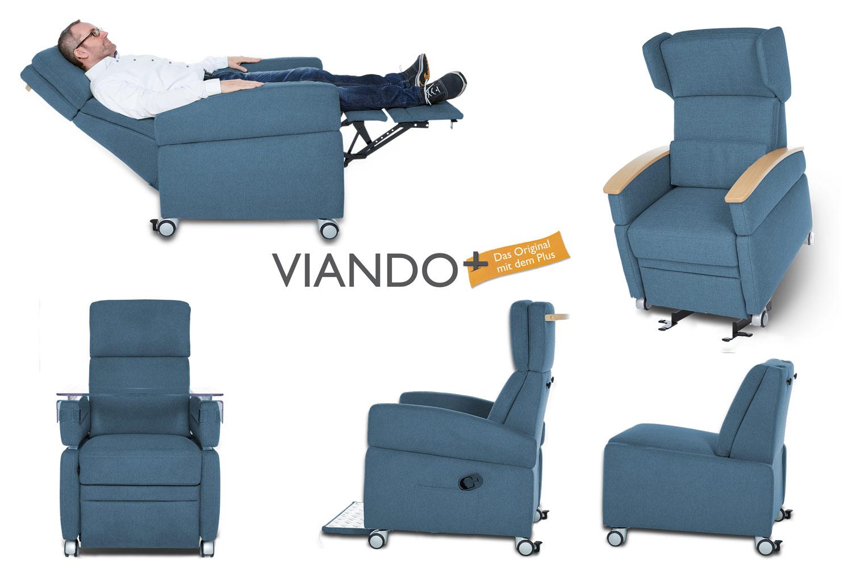 Pflegesessel VIANDO+ : Flexibel und mobil, Ruhe- Liegefunktion / Aufstehhilfe