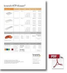 "Preisliste ""kranich ATP-Kissen<sup>©</sup>"""