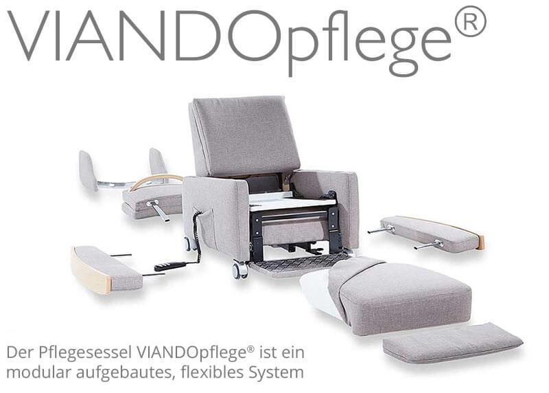 Der Pflegesessel VIANDO: Alle Komponenten sind steckbar und erleichtern die Handhabung in der Pflege. Die Armlehnen / das Kopfteil des Pflegesessels sind schnell zu entfernen.