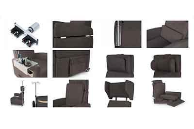 Zubehör für den VIANDOpflege Pflegesessel. Kissen / Tische und Utensilien-Halterungen