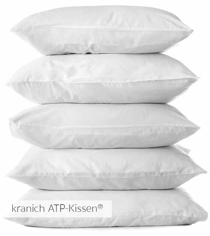 Allergiker freundliche Kissen mit Kunstfaser-Fuellung. Waschbar bis 95 Grad, das stützende, klima-neutrael kranichATP-Kissen