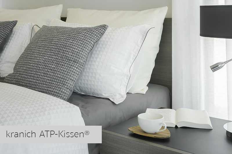 Innovatives Kunstfaser-Kissen für-Allergiker. Der Gäste-Service für Schlafkomfort: kranich ATP-Kissen®