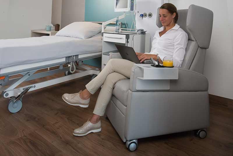 Pflegesessel verstellbar mit Liegefunktion als Patientenstuhl in Tagesklinik / Reha