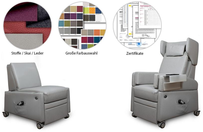 Pflegesessel mit Zertifikaten für die Bezugsmaterialien in unterschiedlichen Farben