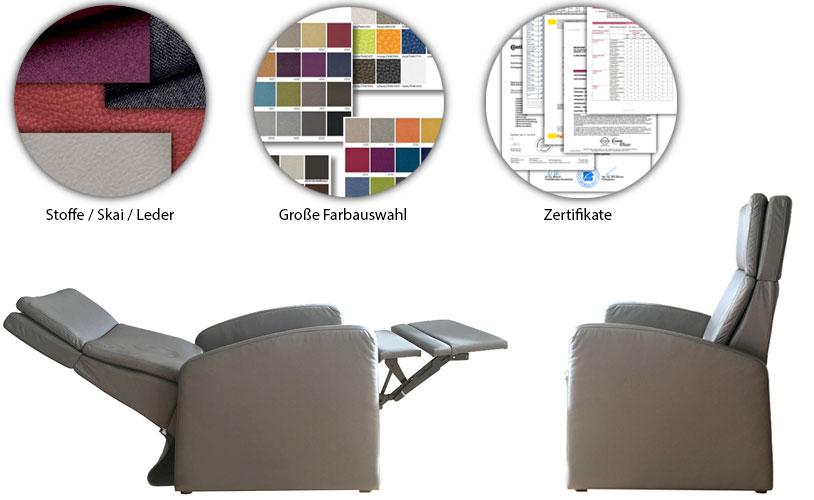 Aufstehsessel: Sessel mit Aufstehhilfe, Bezuege Leder, Skai, Stoff