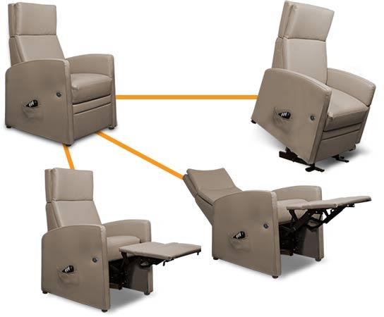 Aufstehsessel, Ruhesessel, Patientensessel oder Liegesessel: Die Funktionen sorgen für ein gesundes Sitzen und bequemes Erholen.