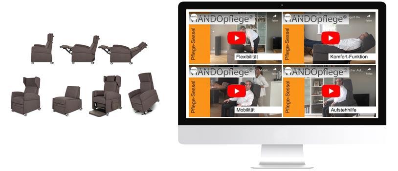Pflegesessel: Alle Funktionen des Sessel / Pflegestuhls in VIdeos aufgezeigt