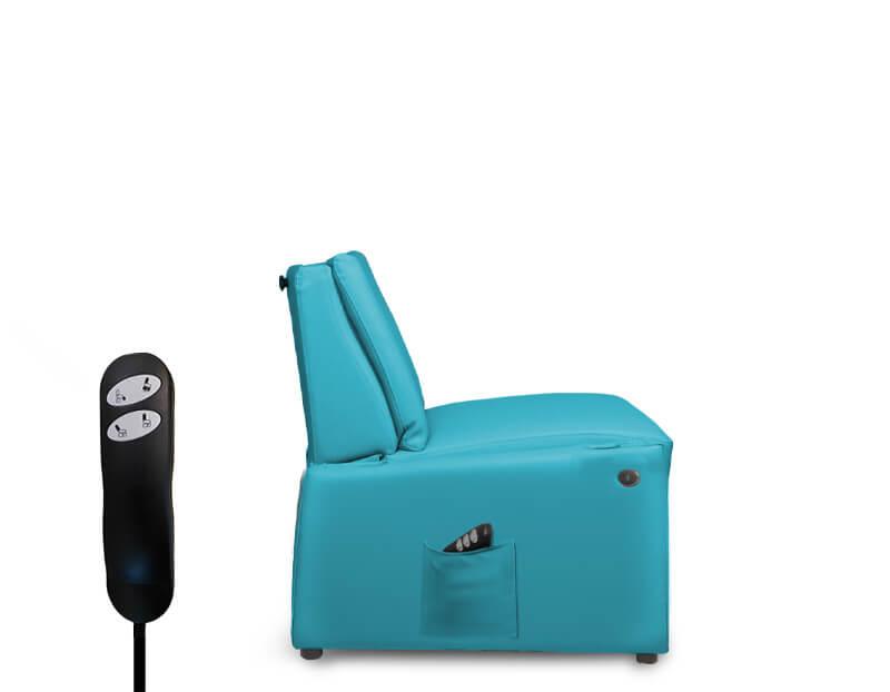 Sessel für (ambulante) Pflege mit entfernten Armlehnen für Transfer Bett-Sessel / Rollstuhl-Sessel und für die Behandlung Senioren / Patienten mit höherem Gewicht (XXL-Patientensessel)