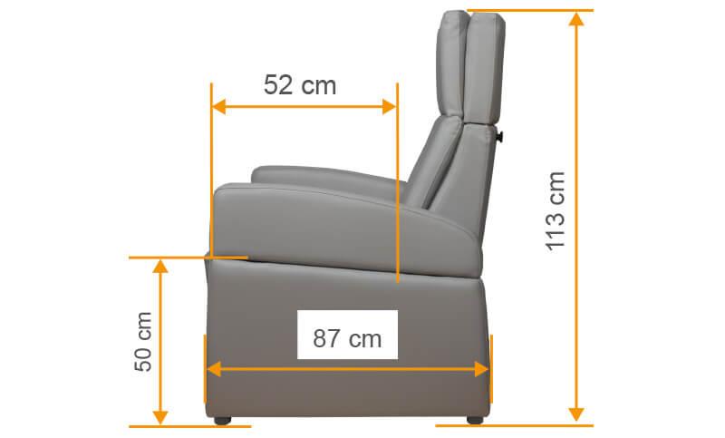 XXL Pflegesessel mit optimierter Sitzhöhe und Sitztiefe als Reha-Sessel und Patientensessel