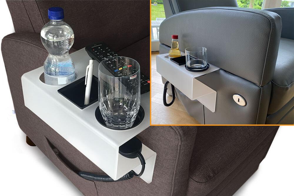 Sessel-Ablage / Halterung-für Utensilien / Getränkehalterung: Alles Wichtige am Aufstehsessel griffbereit haben.
