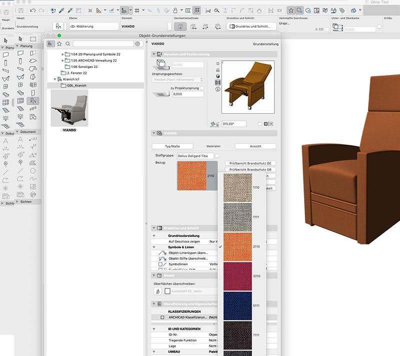 Aufstehsessel in 3D-CAD-Ansicht. LCF-Format zur 3D Darstellung
