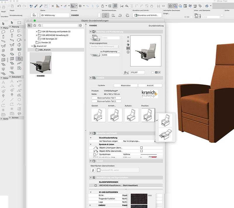 Pflegesessel in 3D-CAD-Ansicht. LCF-Format zur 3D Darstellung